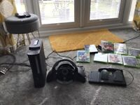 Xbox 360 and 8 games wheel and pedals
