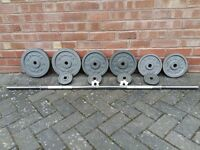 GOLDS GYM CAST IRON WEIGHTS SET
