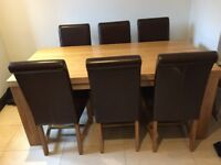 Contemporary Chunky Natural Solid Oak 6ft dining Table with 6 brown Leather Chairs