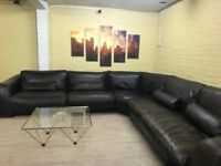 Huge Incanto Brown Leather Corner Sofa