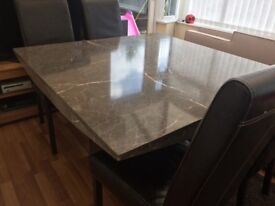 Mable dining table with 4 chairs and matching side tables
