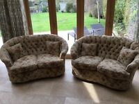 Pair of 2 seater sofas, including 4 scatter cushions, button back.