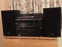 Sony Amplifier, Sony CD player, Onkyo Record Deck .. plus .. 2 x Technics Speaker Sound System