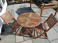 TEAK garden table wooden & 2 chairs