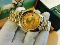 New Swiss Men's Rolex Oyster Datejust Perpetual Automatic Watch, Golden Dial &bracelet