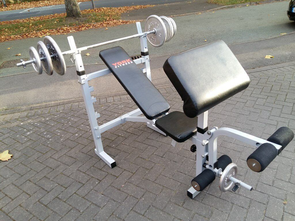 YORK B530 WEIGHTS BENCH & BAR & WEIGHTS