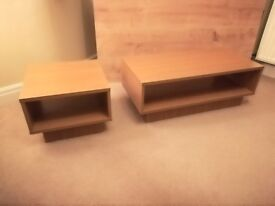 Oak effect coffee table and end table with undershelves