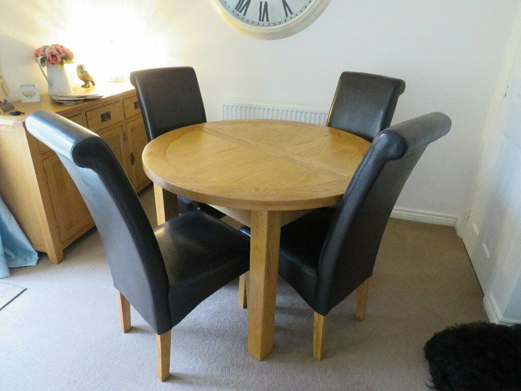 Enjoyable Jtf Canterbury Oak Extending Dining Table 4 Chairs In Newton Le Willows Merseyside Gumtree Andrewgaddart Wooden Chair Designs For Living Room Andrewgaddartcom