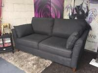 New Furniture Village High Bond Street 3 Seater Sofa In Charcoals Grey Wool Blend Fabric