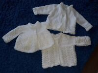 3x hand knitted baby cardigans
