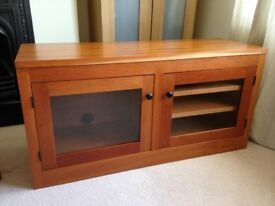VGC lacquered SOLID CHERRY WOOD TV HiFi unit. Adjustable Shelves . Glazed doors. Contemporary style.
