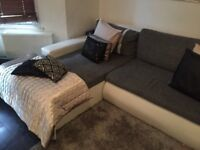 Sofa, chaise, dining table chairs, mirrors
