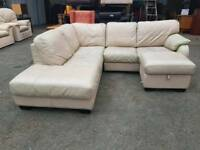 Large leather corner sofa with pouffe (comes in 2 parts)