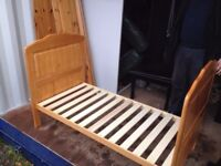 Wooden cot/junior bed with mattress and free duvet
