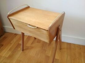 Vintage retro antique 1960's Sewing Box with legs / side table / bedside table
