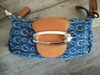 Excellent second hand Condition Authentic Guess Denim Small Canvas Handbag Genuine Leather trims