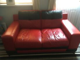 Leather sofa's and foot stool