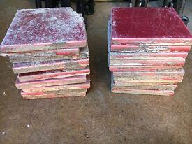 Original Edwardian Red Fireplace Tiles
