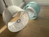 2 lamp shades (white and blue)
