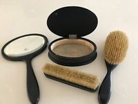 Dark wooden vanity set and pair of art deco hair brushes