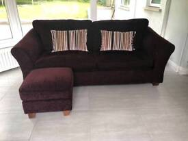 Large 3 Seater Sofa, Footrest and Love Seat