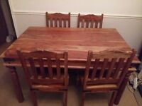 Real wood rustic dining table and chairs
