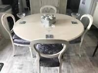 White/ crushed velvet dining room table & 4 Chairs