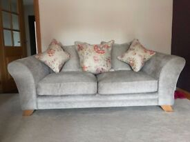 Nearly new 3 seater and 1 chair cream fabric