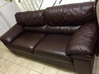 3 Seater brown leather sofa in good condition