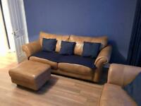 Tan Leather Sofa and Chairs with Footstool