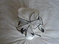 Brand New Cream Hat with Black Trim and lovely black with Green tinge feathers. Unusual Design