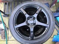 Black 5 spoke alloys with tyres x4