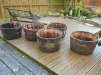 Solid Oak Half Whisky Barrel Garden or Patio Planters (5 to sell)