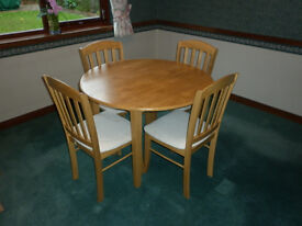 Solid Beech Folding Dining Table and Chairs