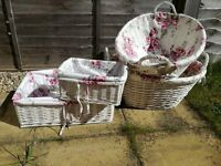 Shabby chic wicker baskets