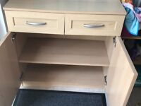 Beech Sideboard/cupboard with 2 drawers