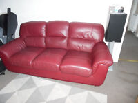 3 seater sofa and 1 chair in dark red, vgc, first to see will buy