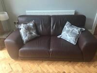 Smart brown quality Italian leather sofa *FREE*