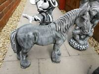 solid concrete garden ornament horse