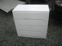 WHITE CHEST OF DRAWERS. STURDY. 4 DRAWERS. USEFUL PIECE.IDEAL AS IS OR PAINTED. VIEW/DELIVERY POSS