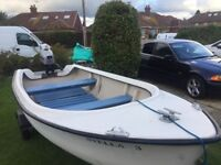 12ft GRP Fishing Boat / Dinghy / Tender with 4hp 4 Stroke Mariner Outboard and Snipe Trailer