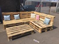 Pallet garden furniture L shaped seating and table