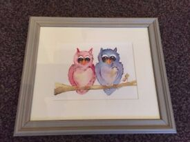 "Original Framed ""Love Birds"" Watercolour by Lynn Lawson (as new)"