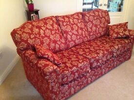 Superb, handcrafted, 3 seater settee in hard wearing fabric.