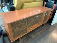 Retro mid century sideboard stereo drinks cabinet with light