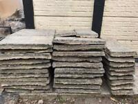 Heavy Duty Sized Garden Textured Patio Slabs, Light / Mid Grey, Aged and Weathered, enough for 14m2