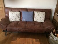 BENSONS FOR BEDS BROWN LEATHER 3 SEATER SETTEE SOFA BED VGC