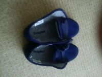 Cosyfeet Ladies Slippers (size 6/blue with Velcro)