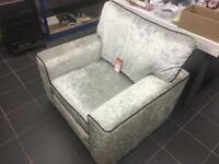 CRUSHED VELVET ARMCHAIR WITH BLACK PIPING