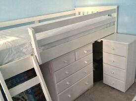 White Cabin Bed (Including desk and chest of drawers)